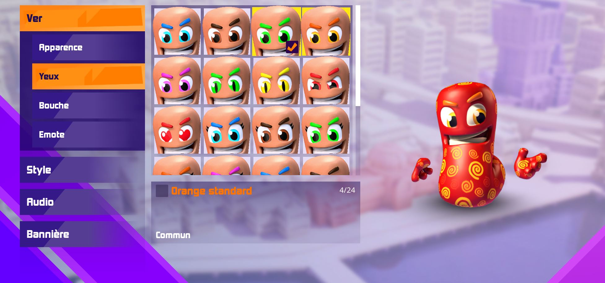 Personnalisation Yeux - Worms Rumble